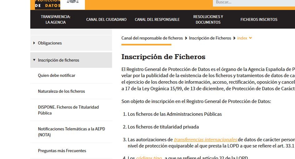 inscripcion ficheros